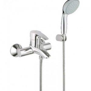 Длинный смеситель для ванной душ крепление к стане