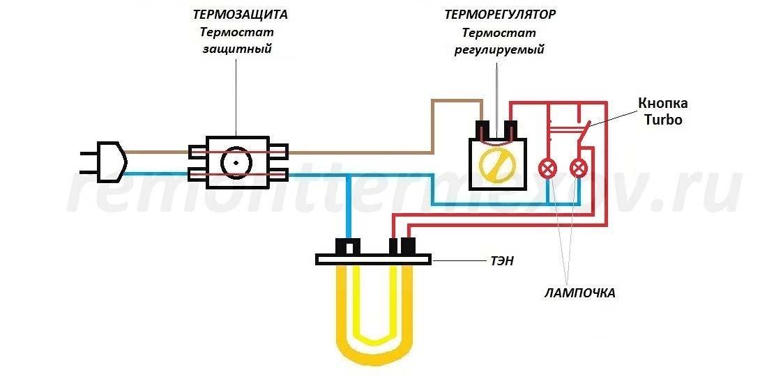 Схема электропитания водонагревателя