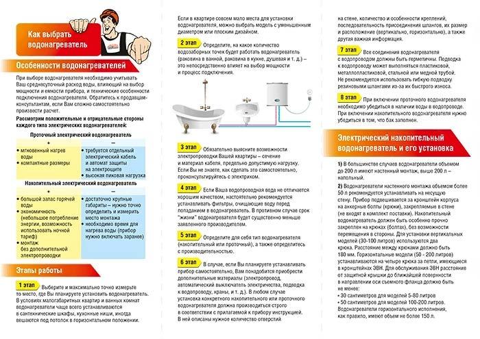 Инструкция для водонагревателя