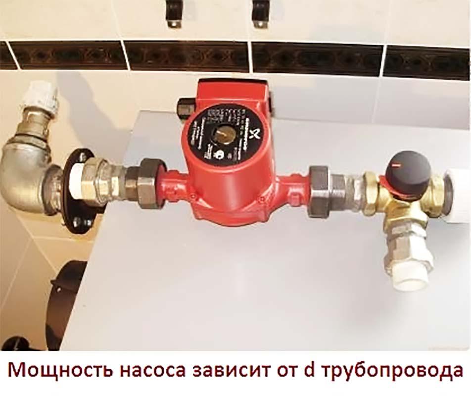 Зависимость диаметра труб от мощности циркуляционного насоса