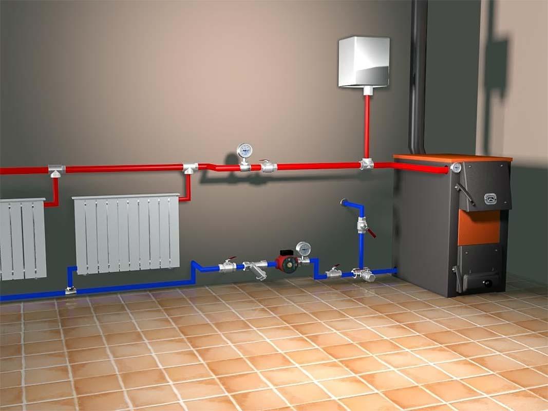 Схема подключения для котла отопления длительного горения