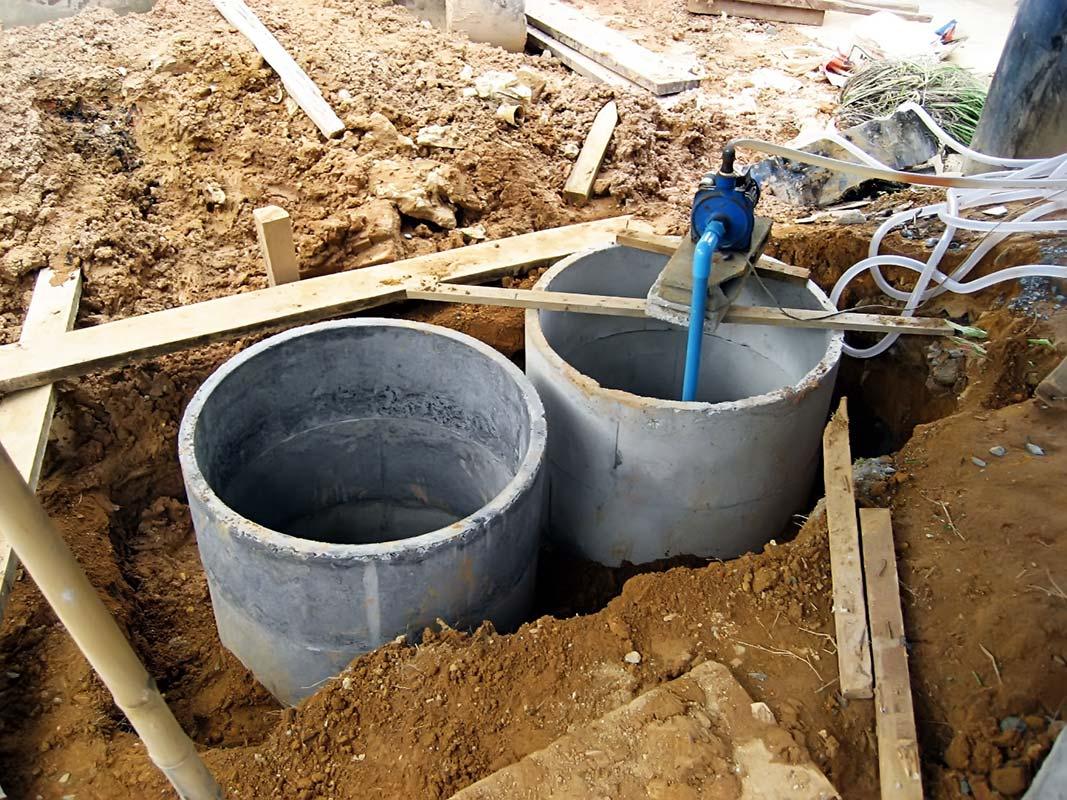 Монтирование бетонного септика монтаж