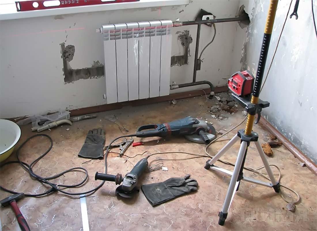 Установка радиатора подготовка